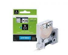 DYMO D1 Label Cassette 12mm x 7m (Black on Clear) Image