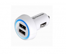 Thermaltake Trip Dual USB Car Charger White AC0028  Powerful 2.1A output Image